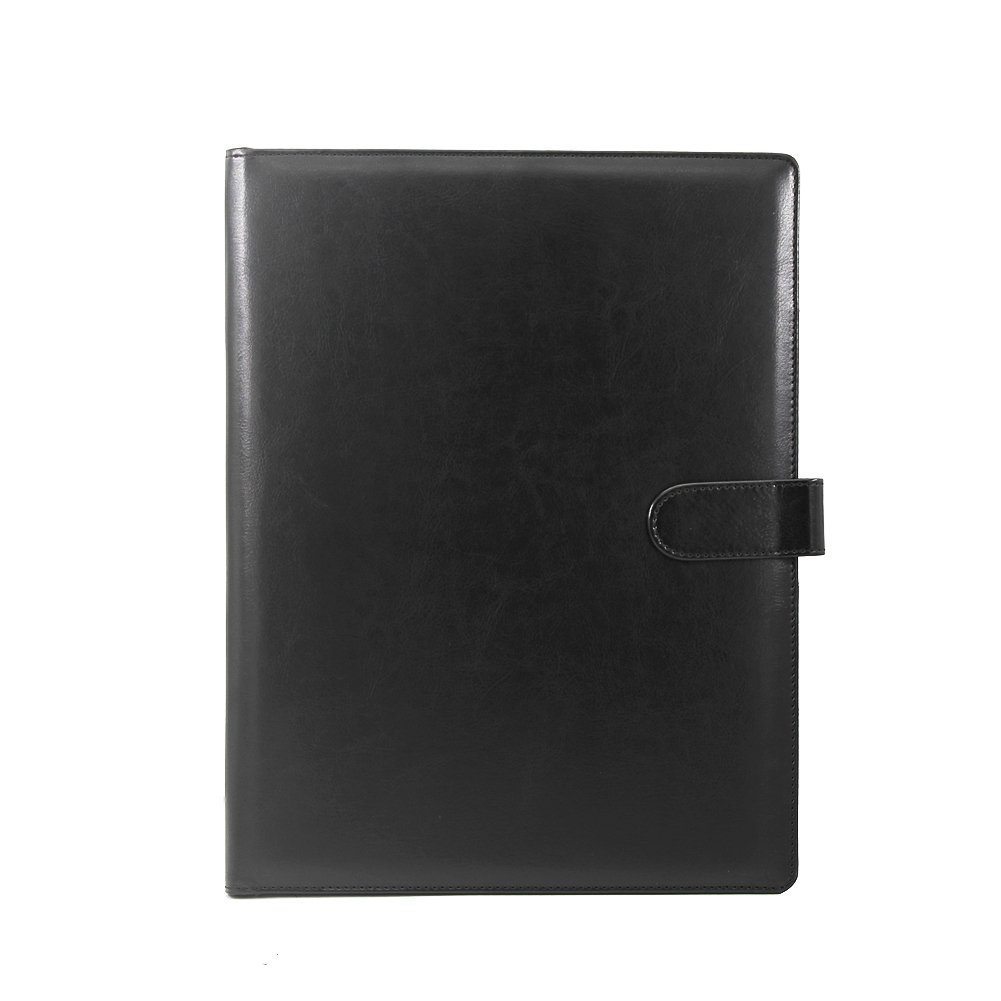 Gunsamg A4 Clipboard Folder Portfolio Multi-Functional Faux Leather Sturdy Clip Board Folder for Office Writing Pads Legal Paper (Black)