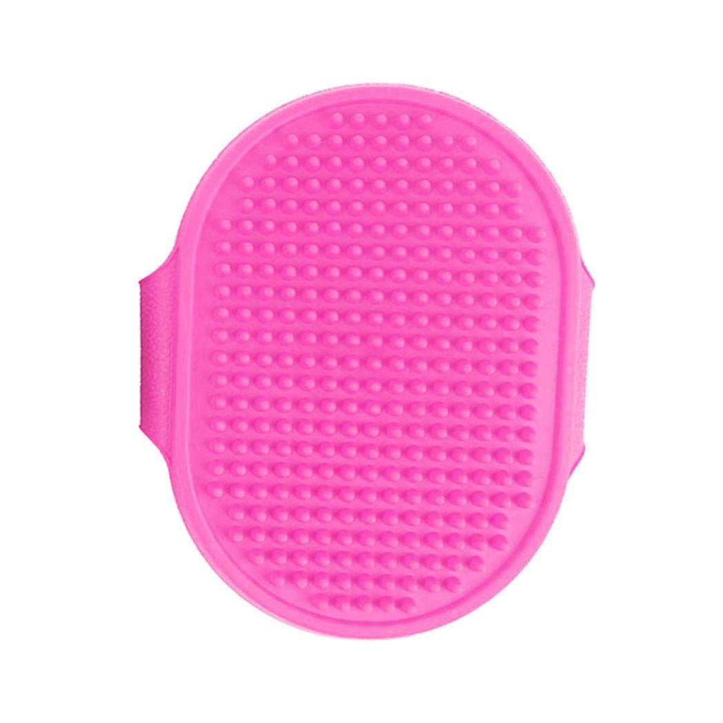 Yevison Pet Grooming Brush,Rubber Grooming Massage Hair Removal Bath Brush Glove Dog Cat Puppy Comb Size 13.8cm x 5cm Pink Durable and Practical