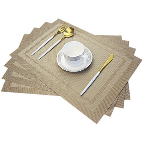 Bright Dream Placemats Textilene Wipe Clean for Dinner Table Heat-resistand PVC Placemats Plastic Table Mats Set of 4(Beige)