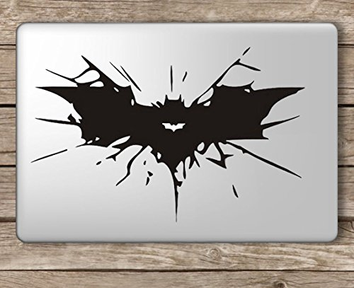 Batman Cracked Symbol - Apple MacBook Laptop Vinyl Sticker Decal, Die Cut Vinyl Decal for Windows, Cars, Trucks, Tool Boxes, laptops, MacBook - virtually Any Hard, Smooth Surface