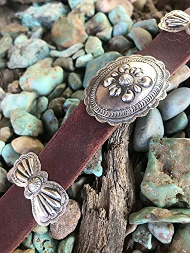Navajo Leather And Sterling Silver Concho Belt By Eugene Charley from Nizhoni Traders LLC