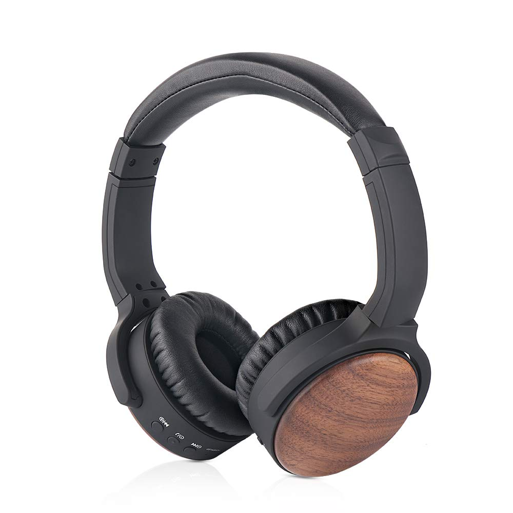 HFNOISIKI Active Noise Cancelling Bluetooth Headphones with Built in Mic, Natural Wood On Ear Wireless HiFi Stereo Deep Bass Headset CVC Noise Canceling Microphone