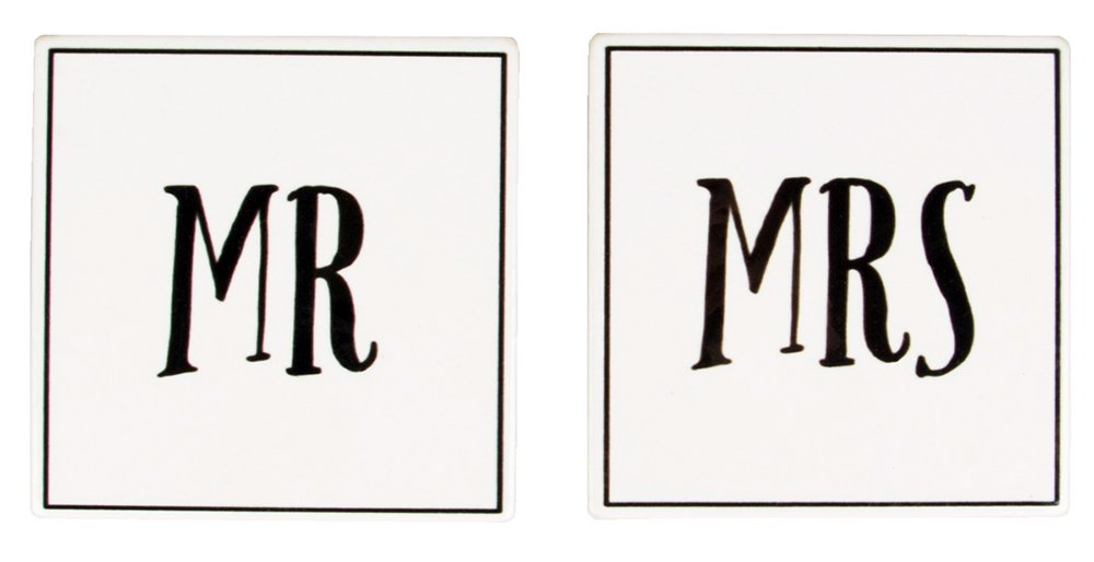 Happy Homewares Set of 2 Mr /& Mrs White and Black Ceramic Coasters Perfect Wedding Or Engagement Gift