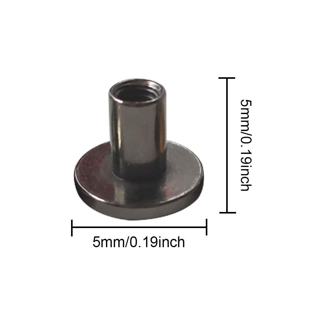 rivets pour cuir Migavenn 20pcs 5mm cuivre t/ête plate forme goujons rivets avec vis pour bricolage artisanat collier en cuir sacs chaussures vestes ceintures argent