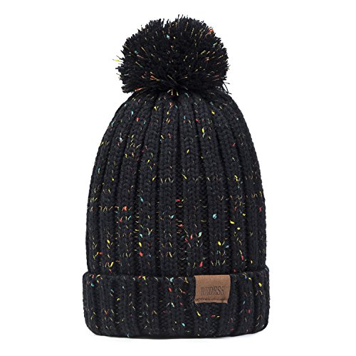 Women Winter Pom Pom Beanie Hat with Warm Fleece Lined, Thick Slouchy Snow Knie Skull Ski Cap by REDESS
