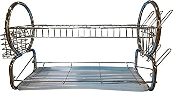 "Alpine Cuisine 22"" Chrome Plated Dish Rack with Plastic Tray"