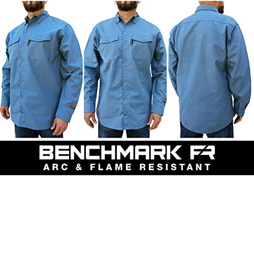 Benchmark FR Silver Bullet, 5.1 oz Ultra Lightweight FR Shirt, NPFA 2112 & CAT 2, Moisture Wicking, Men's FRC with 9 Cal rating, Made in USA, Advanced FR Materials, Light Blue, L Tall by Benchmark FR (Image #2)