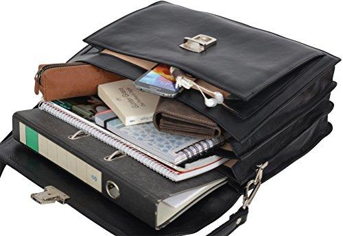 "Gusti Cuir studio ""Clemens"" sac business made in Italy sac bureau attache-case en cuir véritable sac notebook ordinateur portable 15,4"" sac professeur hommes femmes noir 2B30-93-2"