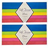 2 Pack - Gift Wrap Bag Tissue Paper Multi Color 25 Sheets 20 x 20 Inch (Total 50 Sheets) Made in USA