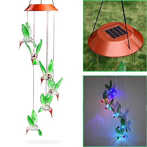 Early Buy Color Changing LED Solar Mobile Wind Chime Hummingbird Wind Chimes Larger for Gardening Lighting Decoration Home