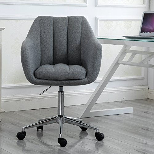 Swivel Computer Desk Chair Ergonomic Modern Accent Home Office Task Chair with Armrest, Grey by windaze