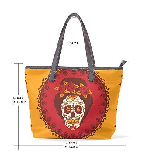 Sugar Skull Dia De Los Muertos Women's Fashion Large Tote Ladies Handbag Shoulder Bag