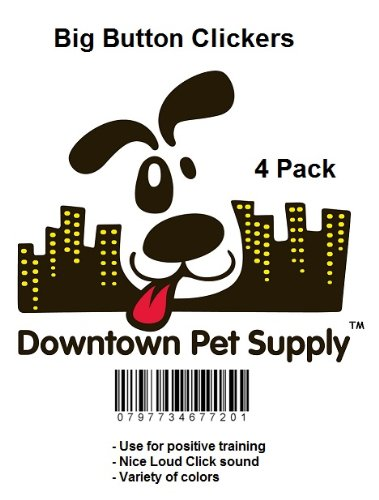 Big-Button-Pet-Dog-Cat-Training-Clickers-click-with-wrist-bands-4-Pack-by-Downtown-Pet-Supply