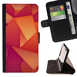DEVIL CASE - FOR Samsung Galaxy S5 V SM-G900 - Polygon Wallpaper Pattern Orange Purple - Style PU Leather Case Wallet Flip Stand Flap Closure Cover