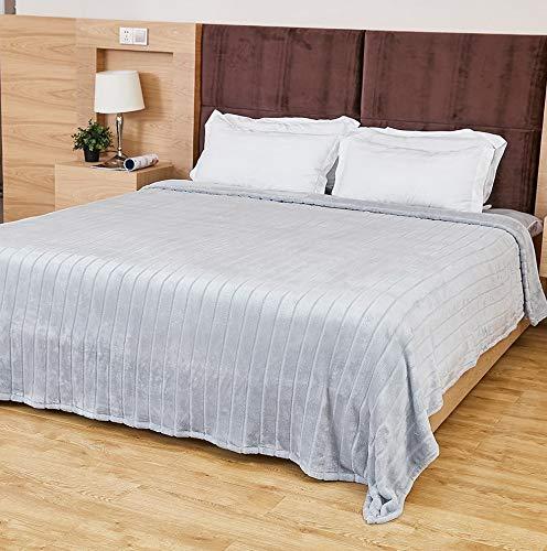 Hebel Ultra Velvet Plush Super Soft Decorative Stripe Throw King Size Bed Blanket- 102