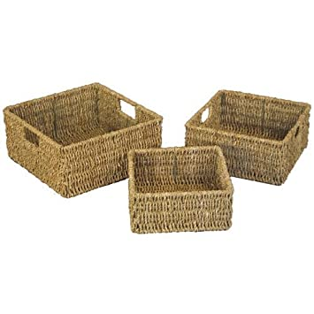 JVL Natural Seagrass Square Storage Baskets With Inset Handles, Set Of 3