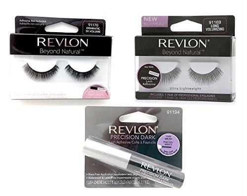 (Revlon Precision Lash Adhesive-Beyond Natural Eyelashes - 3 pcs Bundle: Precision Lash Adhesive Dark; Beyond Natural Eyelashes Long Volumizing; Beyond Natural Eyelashes Dramatic 3X)