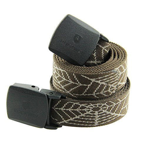 RockWay Sturdy Jacquard Nylon Belt with Detachable Plastic Buckle Airport Friendly (Coffee/Spider Web, Large)