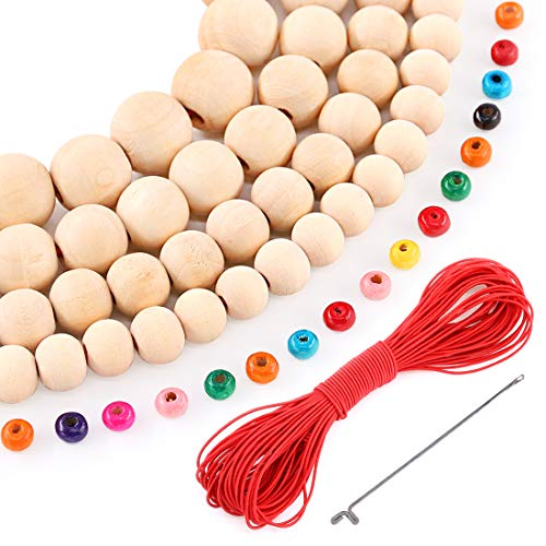 Glarks 420pcs 10/12 /14 /16mm Natural Round Wood Ball Wooden Spacer Beads and Assorted Color Round Wood Loose Beads Free with Elastic Rope, Needle for DIY Jewelry Making or Handmade Crafts