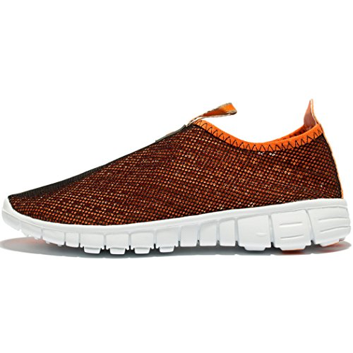 Men & Women Breathable Mesh Running Sport Tennis Outdoor Shoes,Beach Aqua,Athletic,Exercise,Slip Wave EU41 Orange by KENSBUY (Image #4)
