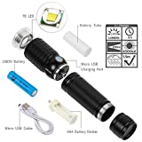 Zglon Brightest Portable LED Tactical Flashlights Zoomable Focus 7 Modes Water Resistant Outdoor Torch with USB Charging Cable, Rechargeable 18650 Battery - For Cycling Hiking Camping Emergency