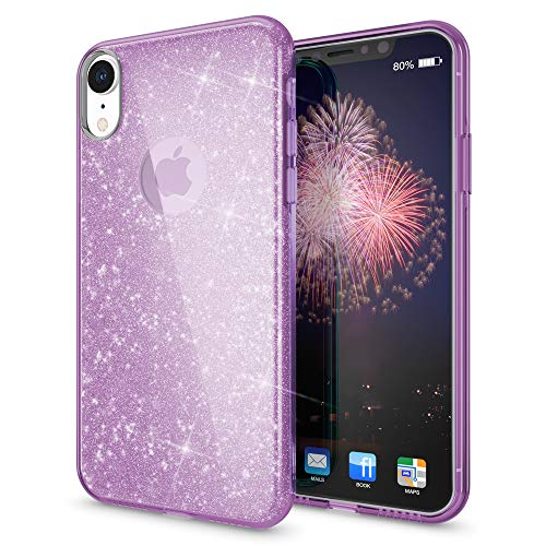 Diamond Purple Skin Case - NALIA Glitter Case Compatible with iPhone XR, Ultra-Thin Mobile Sparkle Silicone Back-Cover, Protective Slim-Fit Shiny Protector Skin, Shockproof Crystal Gel Bling Smart-Phone Bumper, Color:Purple