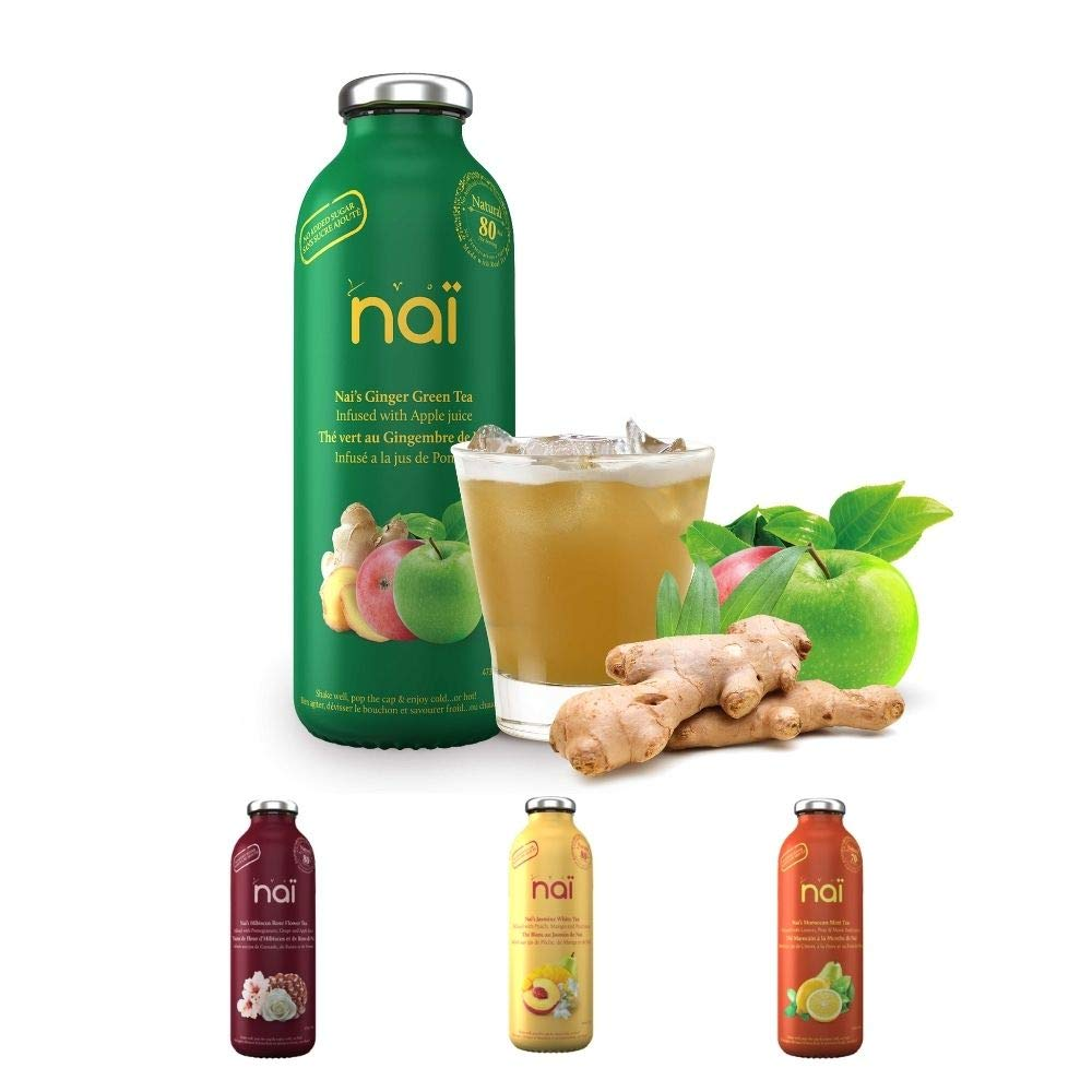 Nai - Ginger Green Tea | Infused with Apple and Lemon Juices - No Added Sugar, Natural Ingredients, No Preservatives (16 oz - 4 Pack)