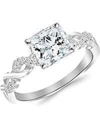 0.38 Cttw 14K White Gold Princess Cut Twisting Infinity Gold and Diamond Split Shank Pave Set Diamond Engagement Ring with a 0.25 Carat D-E Color VS1-VS2 Clarity Center
