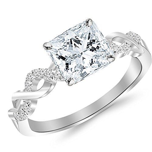 0.25 Ct Engagement Ring - 0.38 Cttw 14K White Gold Princess Cut Twisting Infinity Gold and Diamond Split Shank Pave Set Diamond Engagement Ring with a 0.25 Carat D-E Color VS1-VS2 Clarity Center
