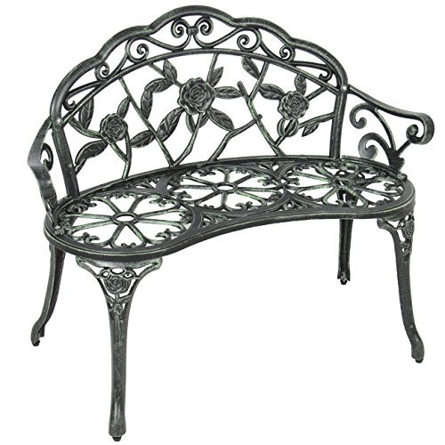 Best Choice Products Floral Rose Accented Metal Garden Patio Bench w/ Antique Finish - - Finish Floral