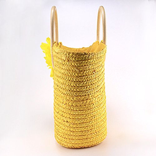 ACMEDE Shopping Handbag Woven Flower Beach Straw Summer Yellow Handbag Army Bag Women Green CUfwqrCHx