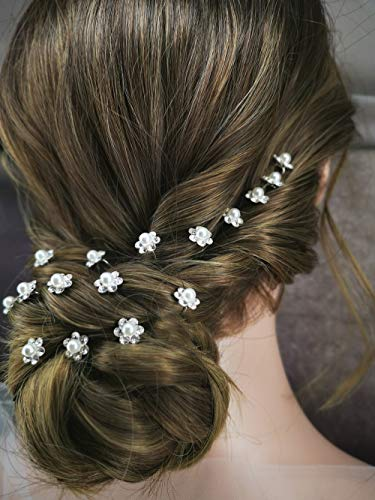 Aegenacess 20Pcs Decorative Hair Bobby Pins for Wedding Bridal Cute Rhinestones Flower Silver Clips Accessories for Women and Girls