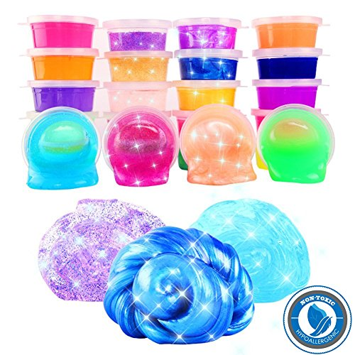24 Colors/Pack Kids Magic Crystal Clay, Soft Slime Toys, Goody Bag Filler Birthday Gifts Non-Toxic by Cuteshower