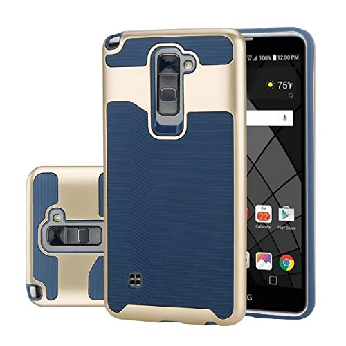 Blue Wave Silicone (LG G Stylo 2 Case, LG G Stylus 2 L82VL L81VL K540 K520 Case, ARSUE [Wave Series] Dual-Layer TPU Bumper Textured Pattern Grip Cover [Shock Proof] for LG LS775 (2016) - Gold/Navy blue)