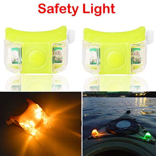 Botepon 2Pcs Boat Kayak Navigaton Light Safety Light Boating Light with 3 Modes for Riding Sailing Runing Climbing Yellow