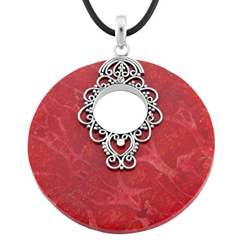 Artisanica Sterling Silver Red Coral Large Round Pendant Necklace (18 inch)