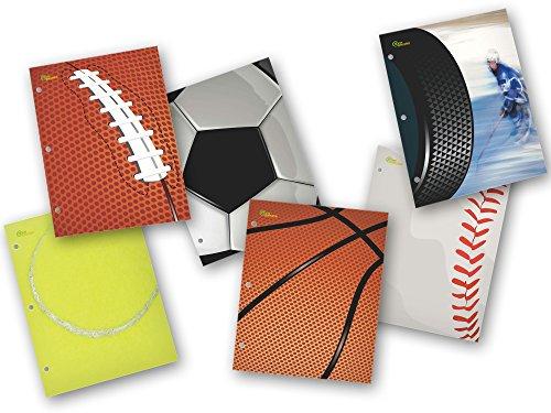 New Generation - Sport - 2 Pocket Folder / Portfolio Heavy Duty 3 Hole Punch - Assorted 6 Fashion Designs UV Glossy Laminated - 6 Folders per Pack