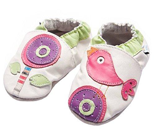 Jinwood designed by amsomo Verschiedene Modelle - Hausschuhe - Echt Leder - Lederpuschen - Krabbelschuhe - Mädchen - Jungen - Soft Sole - Mini Shoes Div. Groeßen 17/19-35/36 flower & bird mini shoes
