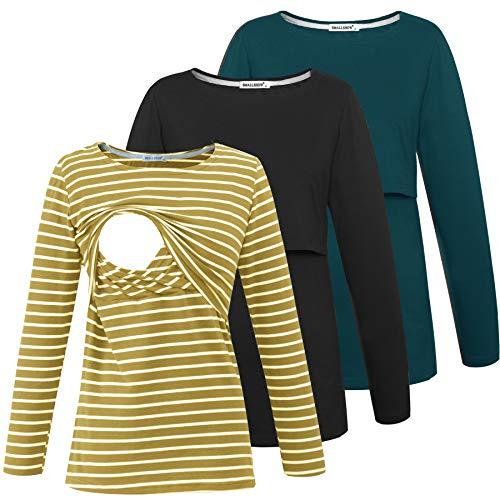 Smallshow Women's Nursing Shirts Long Sleeve Breastfeeding Tops Clothes 3-Pack