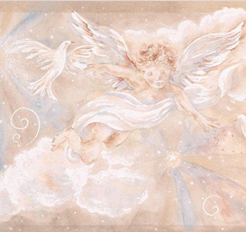 Cupid Dove Clouds Beige Brown Wallpaper Border for Kids, Roll 15' x 8.5'' (Cloud Border Wallpaper)