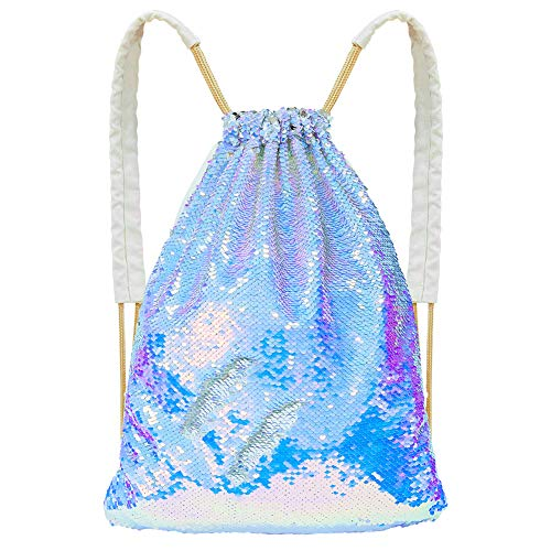 Basumee Flip Sequin Backpack Reversible Sequin Drawstring Bag Mermaid Sequin Dance Bag for Outdoor Sports, Magic Lavender and Silver