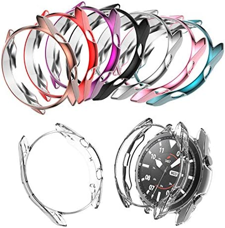 Case Compatible with Samsung Galaxy Watch 3 41mm Soft TPU Bumper (No Screen Protector) Shell Cover for Galaxy Watch 3 41mm/45mm Smartwatch Bands Accessories (8-Pack, 41mm)