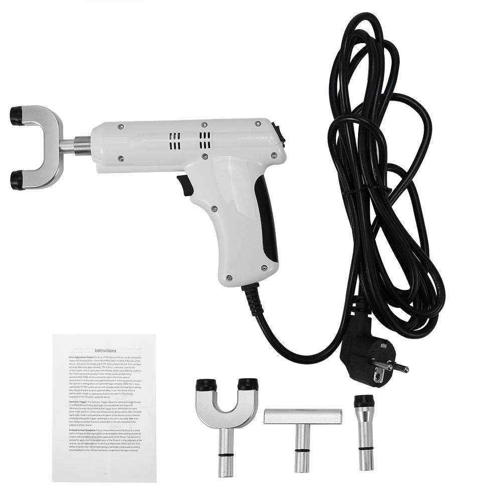 Massage Gun,2 Types Chiropractic Tool Electric Spine Adjuster Adjusting Massager with Four Massage Heads(US)