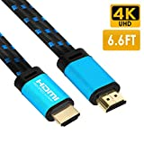 4K HDMI Cable 6.6 FT - FiveHome HDMI 2.0(4K@60Hz) Ready - 18Gbps - 30 AWG Braided Cord - Supports 4K HDR, 3D, 2160P, 1080P, Ethernet for TV, Monitor, Xbox, PS4/3,Blu-ray Player, HDMI Switcher
