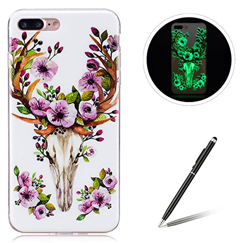 Feeltech iPhone 7 Plus / 8 Plus TPU Silicone Case, Luminous Effect Noctilucent Green Glow Ultra Slim Soft Rubber Shell for iPhone 7 Plus / 8 Plus Stylish Unique Design-Flower Deer
