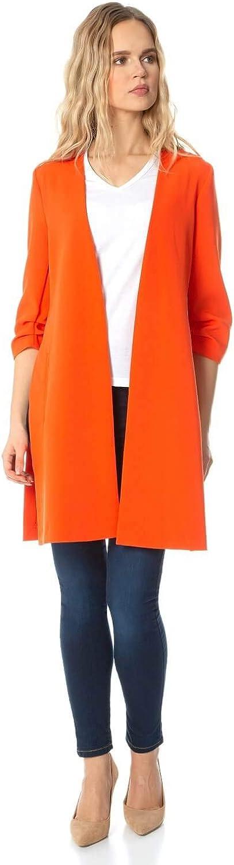 Roman Originals Women Ruched Sleeve Longline Jacket Ladies Everyday Smart Casual Formal Workwear Evening Buisness Lightweight Open Front 3//4 Length Sleeve Blazer