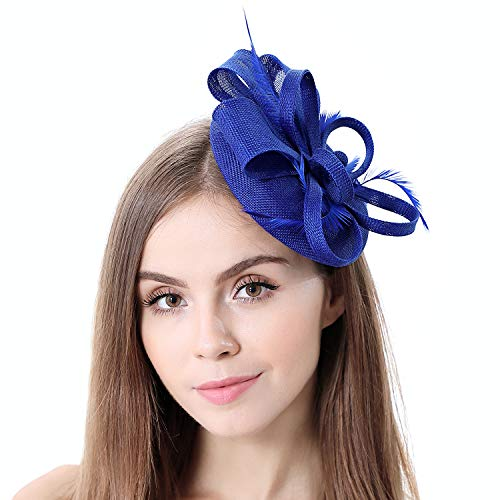 homy Fascinator Hats Feather Fascinators for Women Pillbox Hat Headband for Wedding Derby Tea Party -