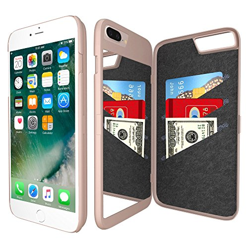 iPhone 7 Plus Mirror Wallet Case for Women - Spessn Enclosed Mirror Back Cover with 3 Bank Card Slot Protective Hard Case, HD Screen Protective Film for Apple iPhone 7 Plus -5.5 Inch (Rose Gold)