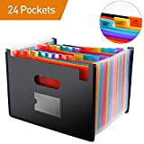 File Folder Organizer/24 Pockets Hot Pressing Forming Document Organizer with Cloth Edge Wrap and File Guides, Multi-Color Accordion A4 Size with Expanding Wallet Stand for Business/Office/Study/Home