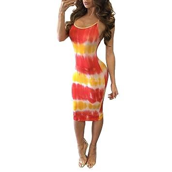 gbsell mujeres verano Bodycon sin mangas fiesta cóctel corto mini vestido, Rojo